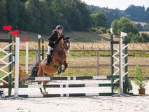 Little girl jumping over hurdle on pony Stock Image