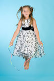 Little girl with jumping rope Royalty Free Stock Images
