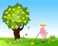 Little girl with jumping rope, cdr vector. Little girl playing with the rope, vector format Royalty Free Stock Photos
