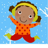 Little girl jumping in snow Royalty Free Stock Photos
