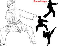 Girl practicing karate Stock Images