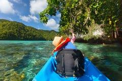 Little girl kayaking Royalty Free Stock Photos