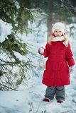 Little girl with a flashlight. Forest, winter day Royalty Free Stock Photography