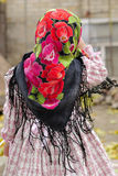 The little girl in  kerchief costs a back Royalty Free Stock Images