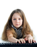 Little girl with  keyboard Royalty Free Stock Image