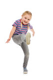 Little girl kick by foot Royalty Free Stock Photography