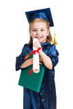 Little girl kid in academician clothes with book Royalty Free Stock Photos