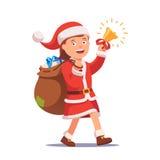 Little girl kid dressed like Santa Claus Stock Photos