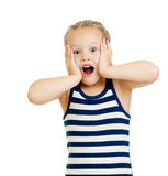 Little girl kid surprised with hands on her face Stock Image