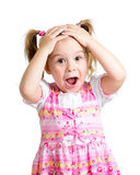 Little girl kid surprised with hands on her head Royalty Free Stock Images