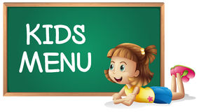 Little girl and kids menu on the board Royalty Free Stock Photos