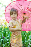 Little girl in a kimono Royalty Free Stock Photos