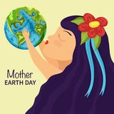 Little girl kiss earth. Mother earth background royalty free illustration
