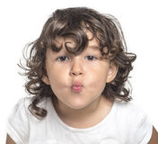 Little girl kiss Stock Image