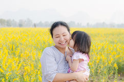 Little girl kissing her mom in flower field Royalty Free Stock Photos