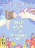 Little girl kissing magic unicorn. Love concept royalty free stock photo