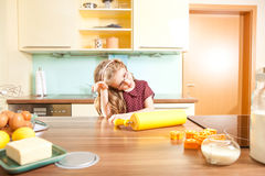 Little girl in the kitchen Royalty Free Stock Photo