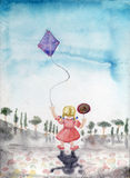 Little girl kite. Little girl with a kite and candy, watercolor illustration Royalty Free Stock Photography