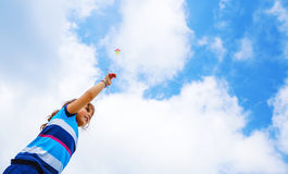 Little girl with kite outdoors Stock Photography