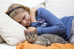 Little girl with a kitten Royalty Free Stock Photo