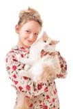 Little girl with a kitten. Stock Photo