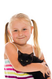 Little girl with kitten Royalty Free Stock Images