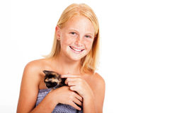 Little girl kitten Stock Photos