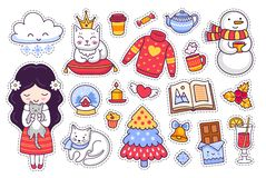 Little girl with kitten. Set of cartoon winter stickers, patches, badges, pins, prints. Doodle style. Vector stock illustration