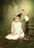 Little girl and kitten Royalty Free Stock Photo