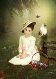 Little girl and kitten stock illustration