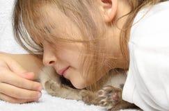 Little girl and kitten Royalty Free Stock Photo