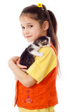 Little girl with kitty on shoulder Stock Photo