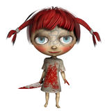 Little girl with a knife. 3D render of a little red-haired girl with a knife stock illustration