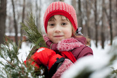 Little girl in a knitted hat Royalty Free Stock Photography