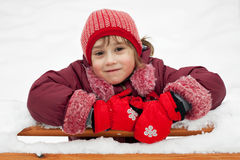 Little girl in a knitted hat Stock Photography