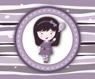 Little girl label card on stripey violet background Stock Photo