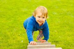 Little girl on ladder Royalty Free Stock Photo