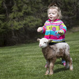 Little girl and lamb. Cute little girl with pet lamb stock image