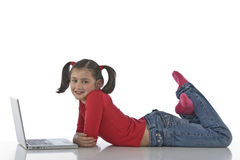 Little girl with laptop Royalty Free Stock Image