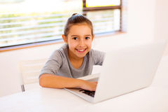 little girl laptop royalty free stock images
