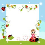 Little girl with large sheet of paper Stock Image