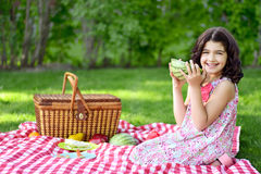 Little girl with large slice of watermelon Royalty Free Stock Images