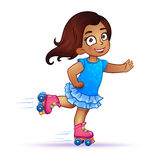 Little girl Latina rides on roller skates Royalty Free Stock Photo