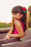Little girl laughing in  sunlight Royalty Free Stock Photos