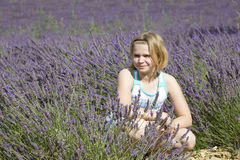 Little girl in a lavender field Stock Photo