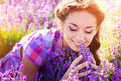 Little girl on lavender field Royalty Free Stock Photography