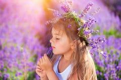 Little girl on lavender field Stock Photos
