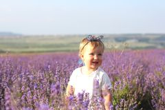Little girl on a lavender field. Happy little girl on a lavender background. Cute baby playing in meadow field. Family holiday in summer day stock image