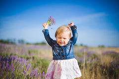 Little girl in lavender field Royalty Free Stock Photo