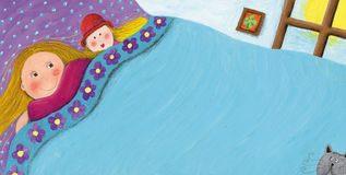 Little girl laying in bed. Acrylic illustration of little girl laying in bed Stock Images